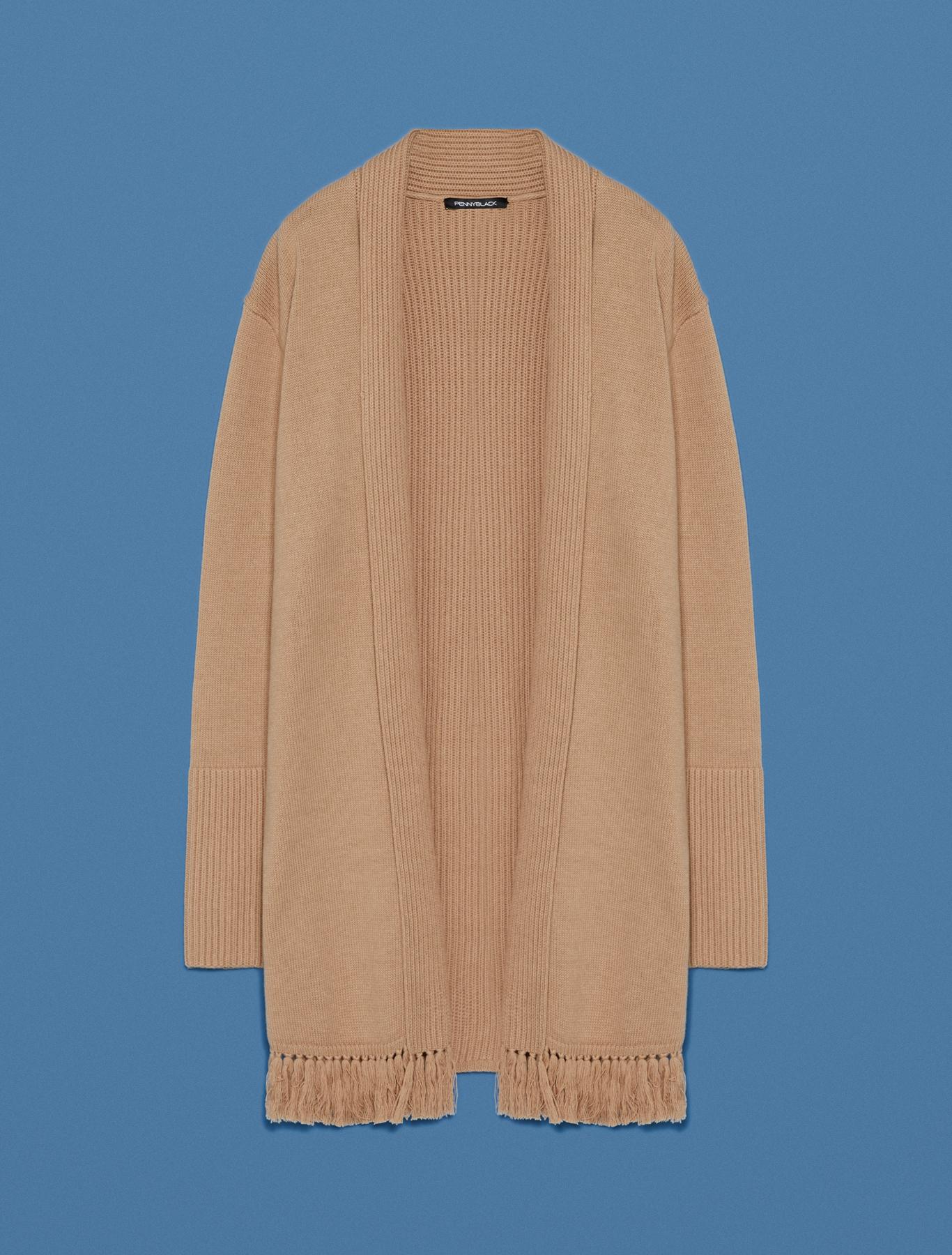Fringed and ribbed cardigan - camel - pennyblack
