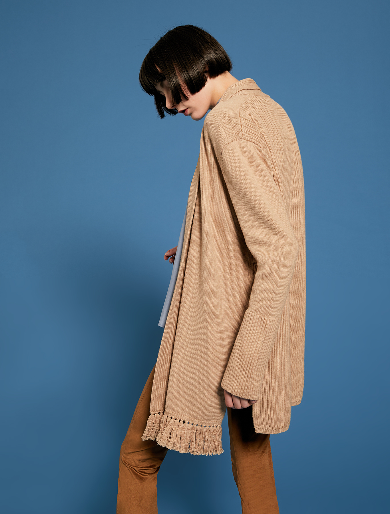 Fringed and ribbed cardigan - camel - pennyblack