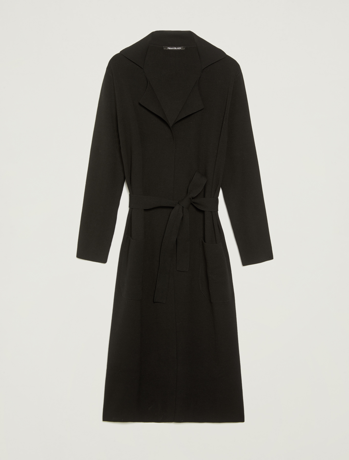 Cardigan with lapels and belt - black - pennyblack