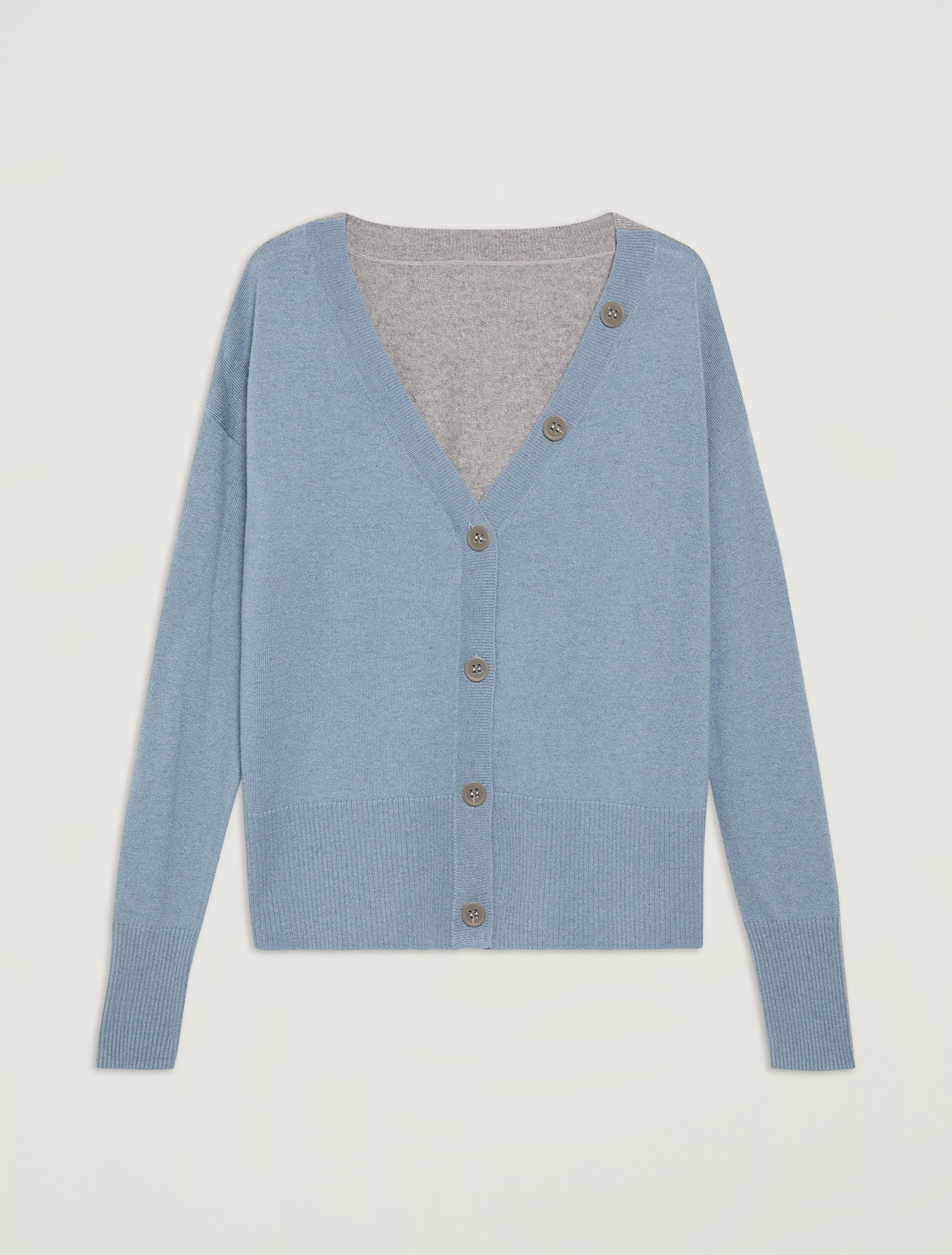 Two-toned lambswool cardigan - light blue pattern - pennyblack