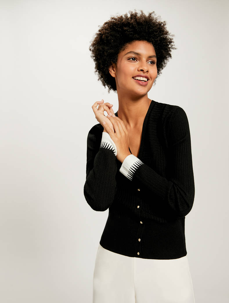 Cardigan with a mix of ribbing - black pattern - pennyblack