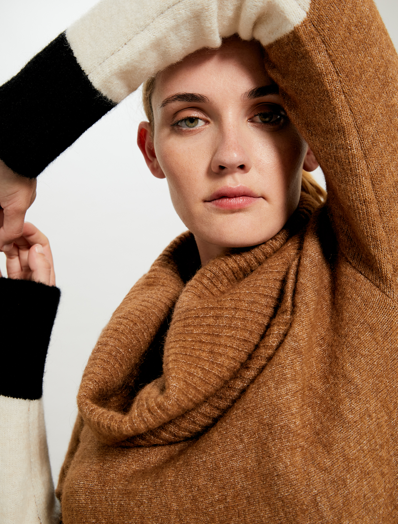 A-line jumper with neck warmer - camel - pennyblack