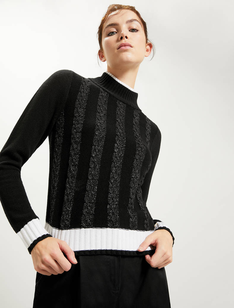 Jumper with lamé braids - black - pennyblack