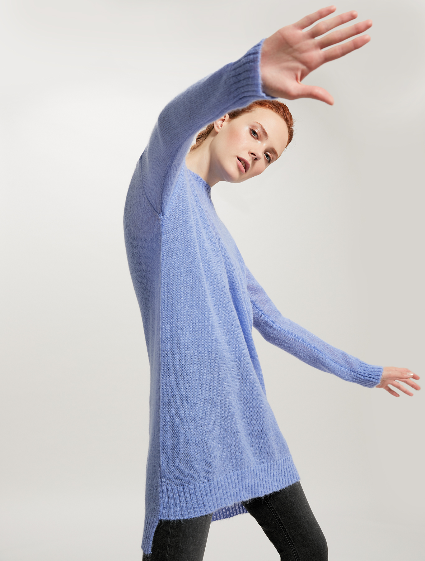 Jumper in alpaca-mohair blend - light blue - pennyblack