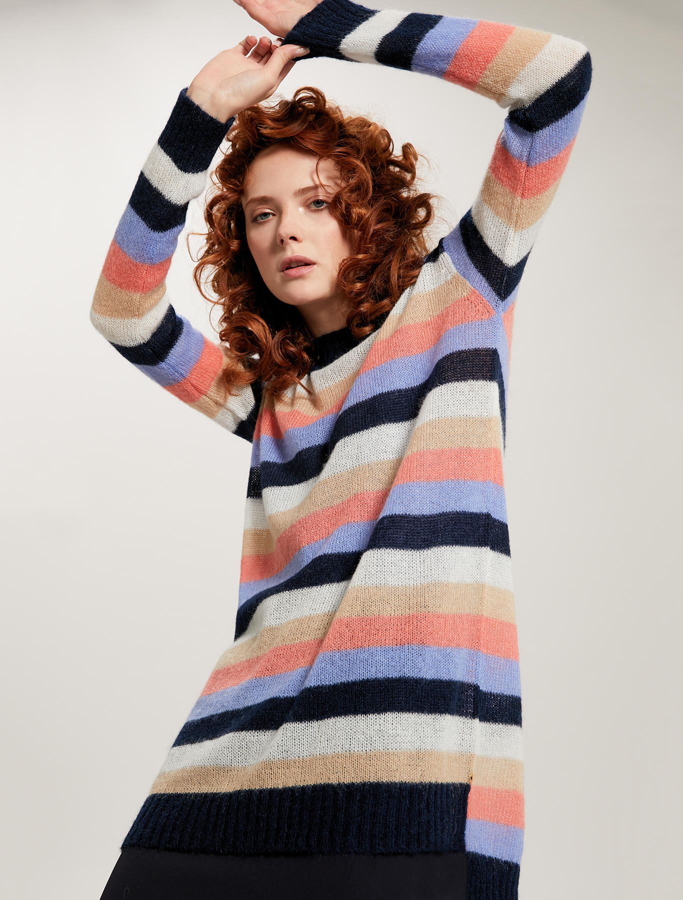 Jumper in alpaca-mohair blend - navy blue - pennyblack