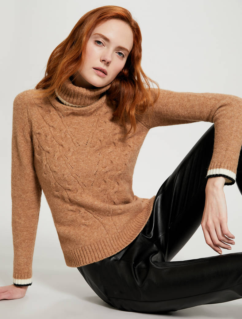Slim fit cable knit turtleneck - camel - pennyblack