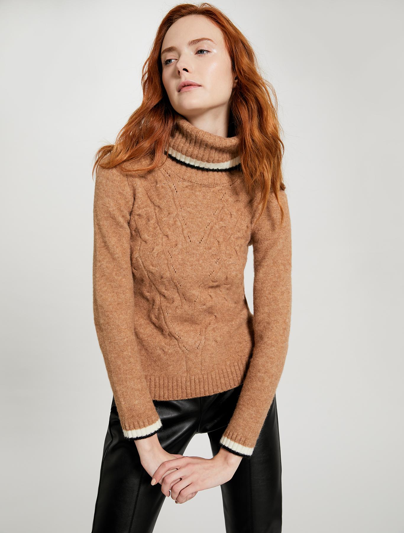 Slim fit cable knit turtleneck - camel - pennyblack