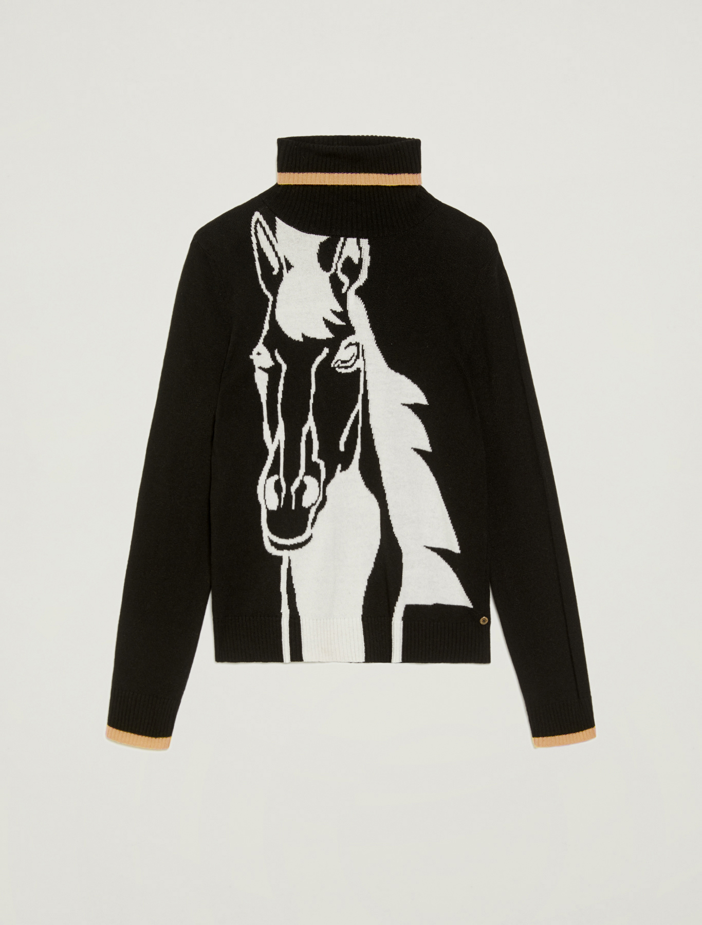 Jumper with horse inlay - black - pennyblack
