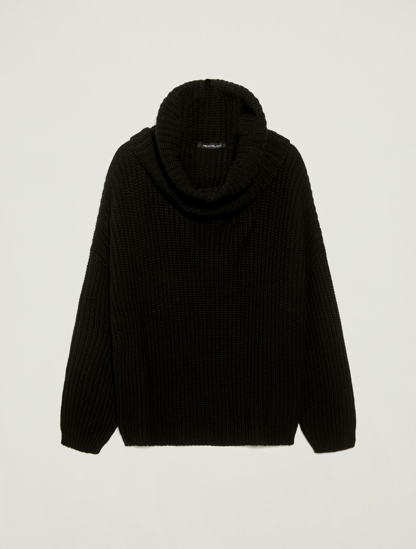 Oversize jumper with maxi-neck - black - pennyblack