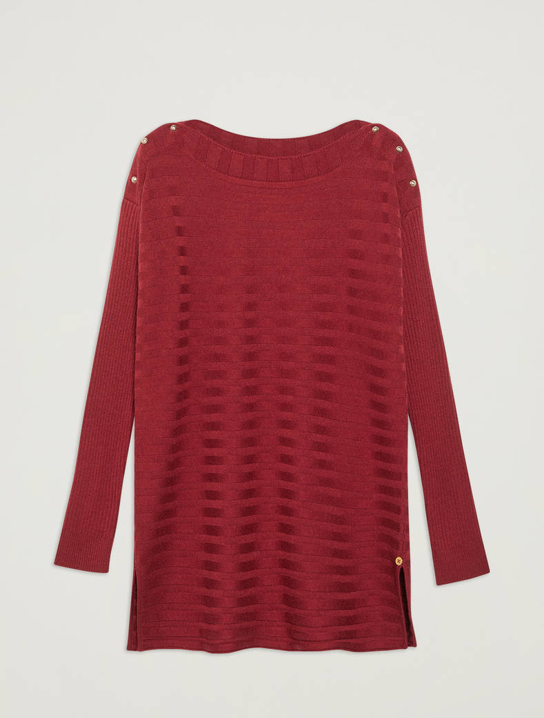 Mixed ribbing sweater - burgundy - pennyblack
