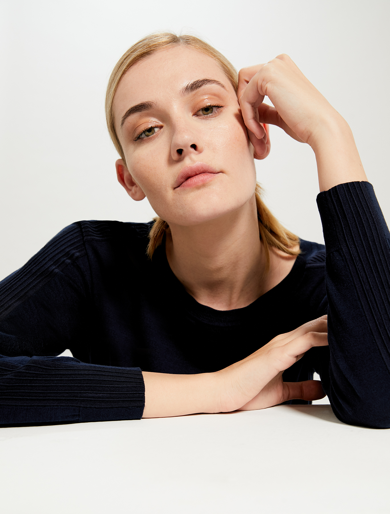 Jumper in cotton and silk with stripes - navy blue - pennyblack