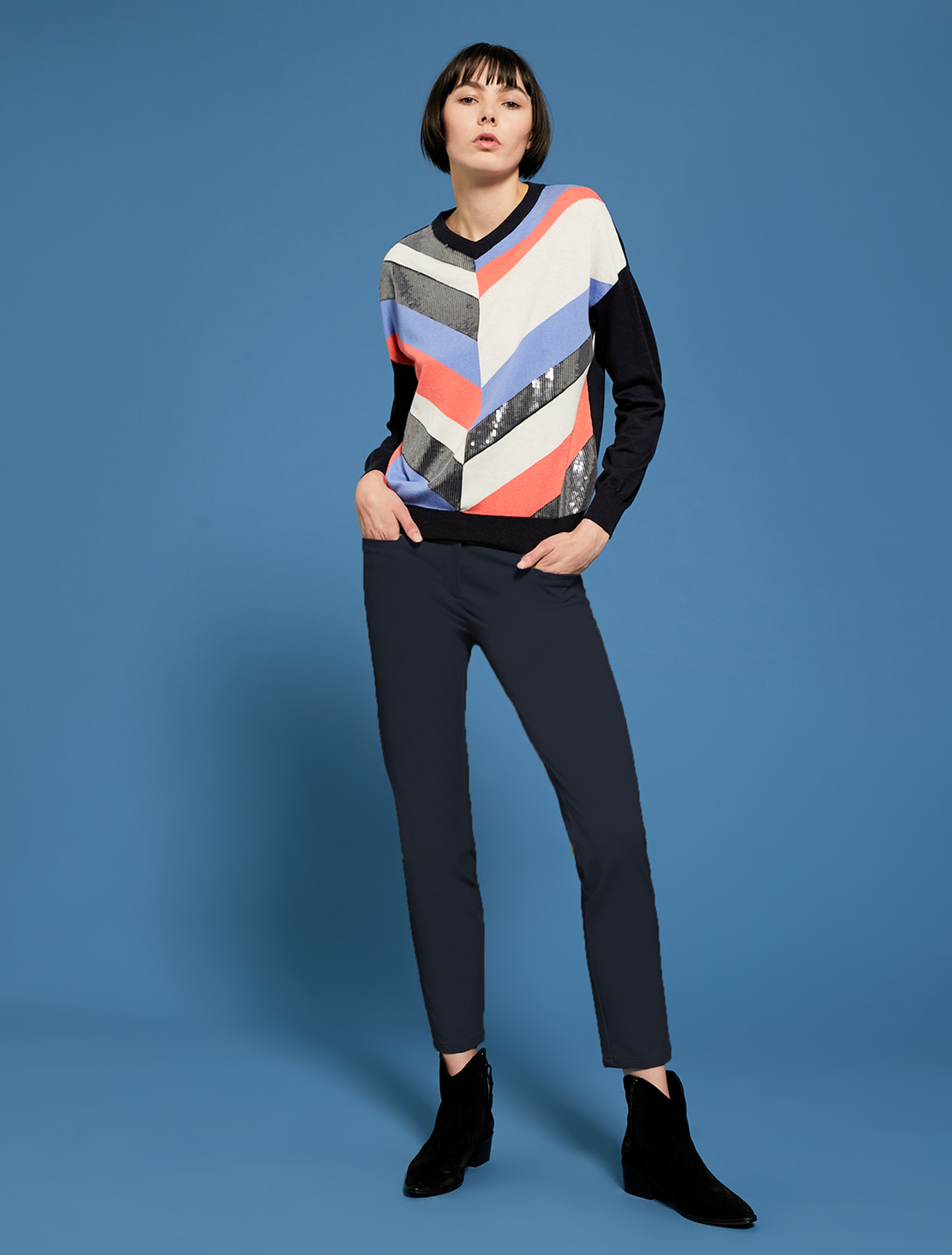 Sequined jumper with chevron stripes - navy blue pattern - pennyblack