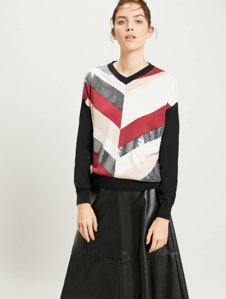 Sequined jumper with chevron stripes - black pattern - pennyblack