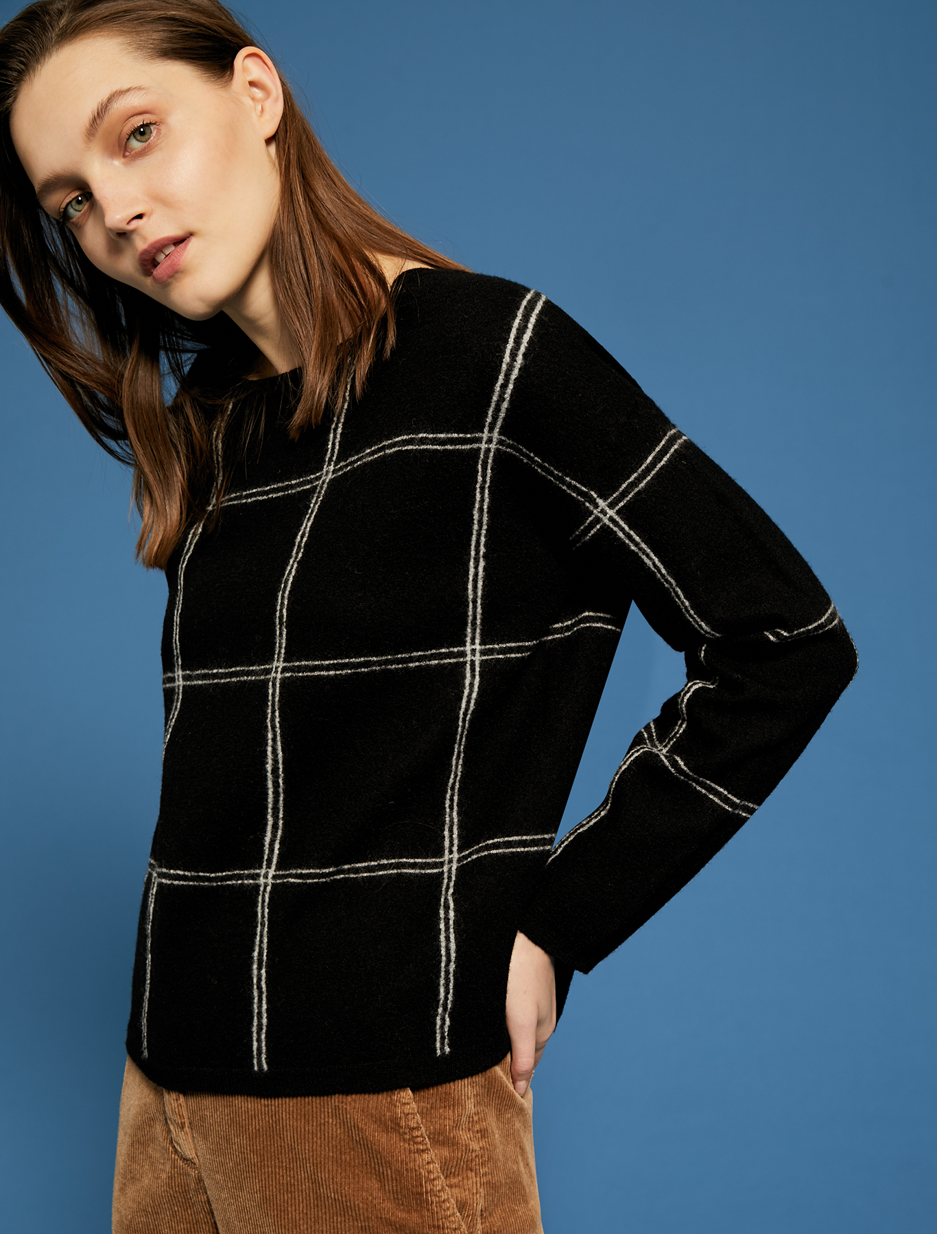 Checked boiled wool jumper - black pattern - pennyblack