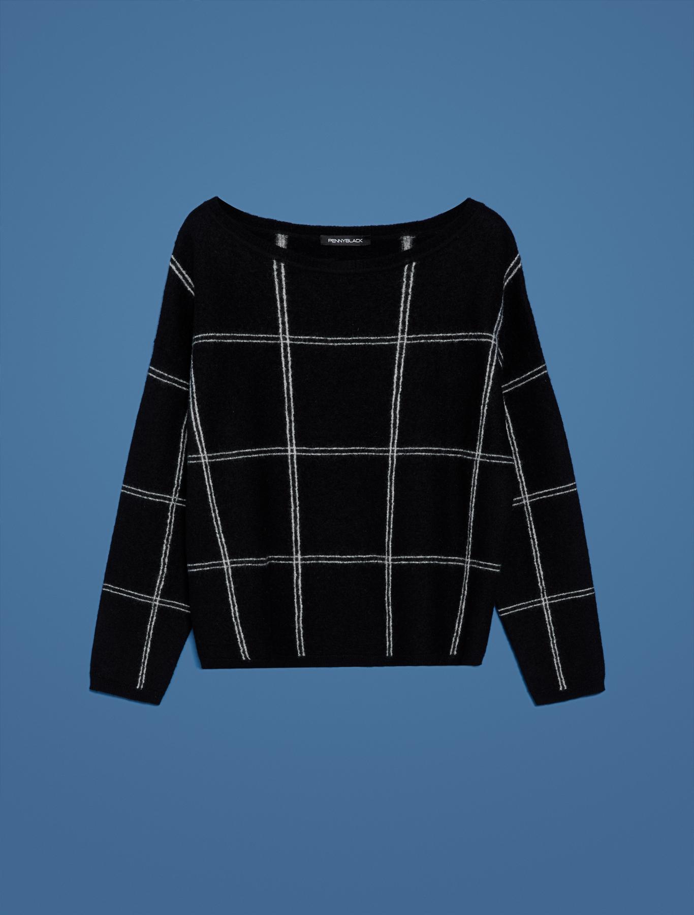 Maglia in lana cotta a riquadri - fantasia nero - pennyblack