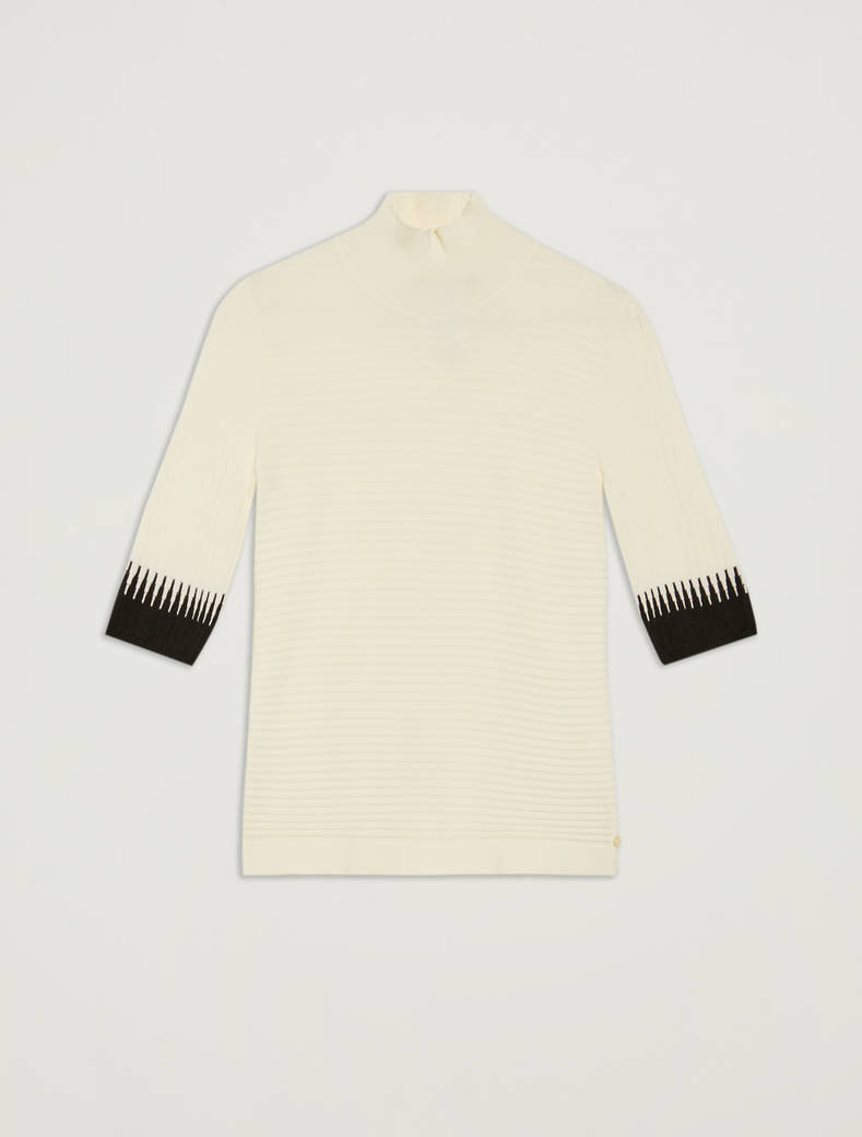 Turtleneck with contrasting details - ivory pattern - pennyblack