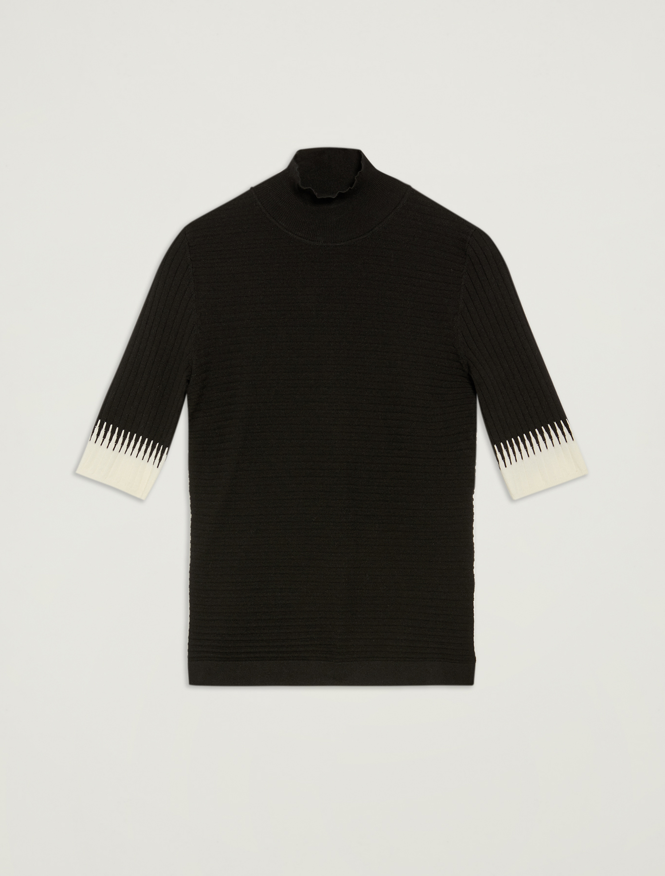 Turtleneck with contrasting details - black pattern - pennyblack