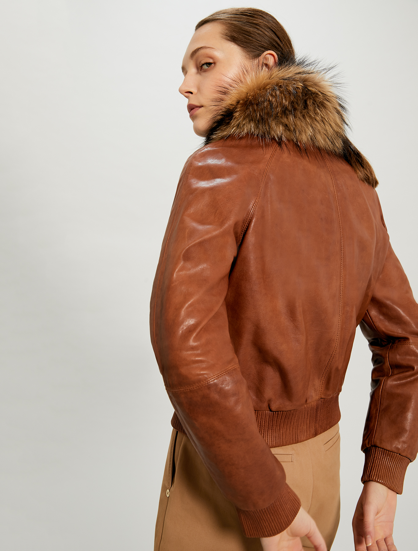 Nappa leather and fur bomber jacket - brown - pennyblack