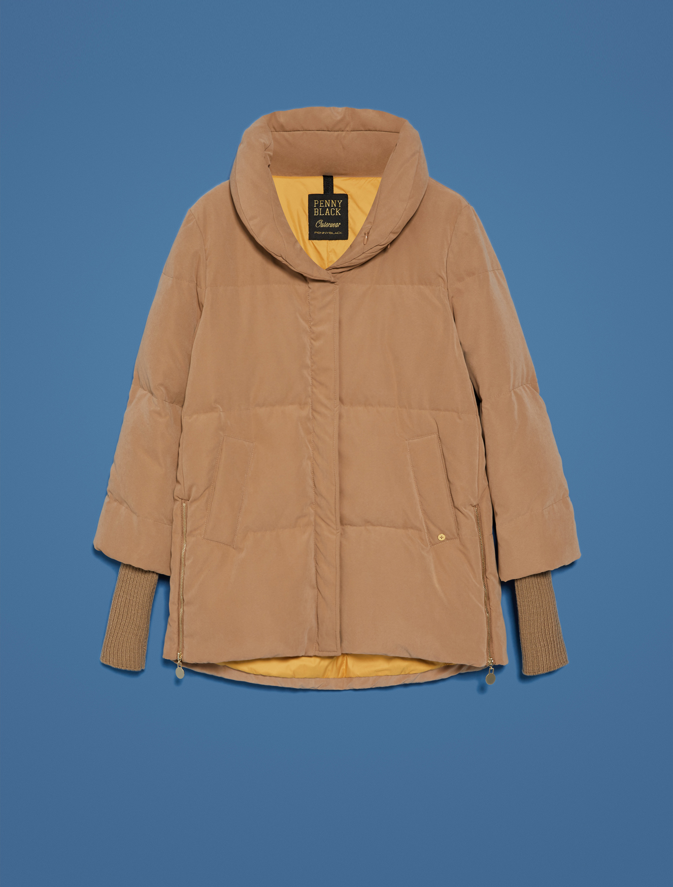 Down jacket with transformer details - camel - pennyblack