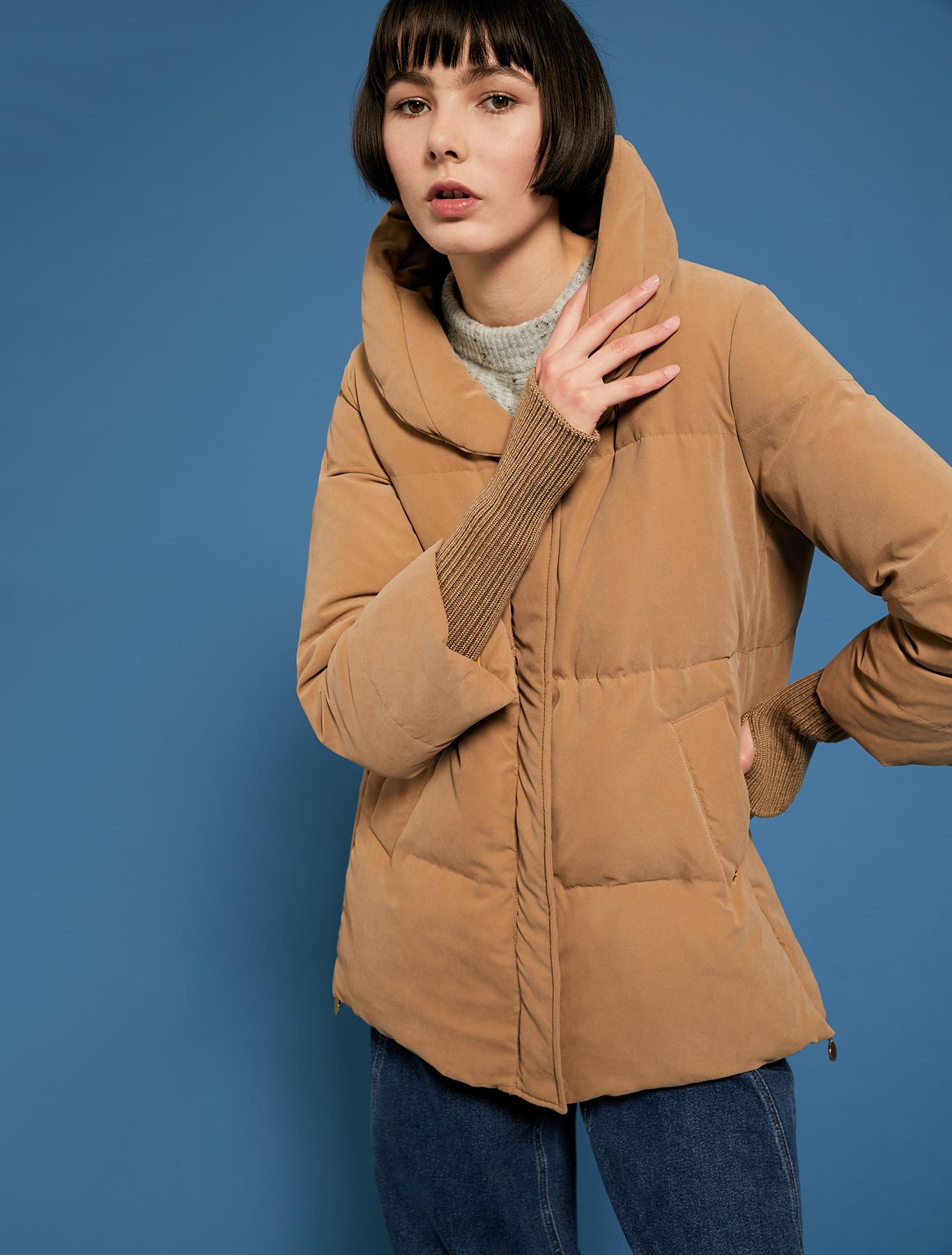 Down jacket with transformer details - camel - pennyblack