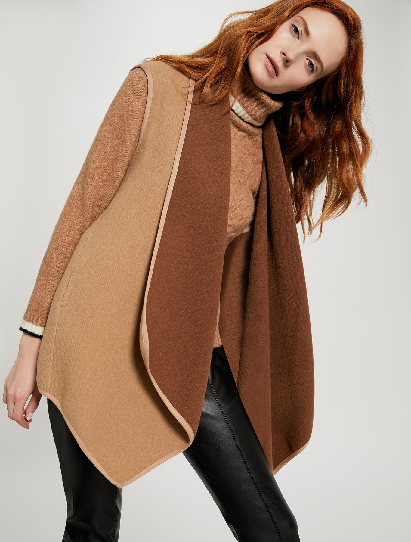 Reversible puffer jacket with gilet - camel - pennyblack