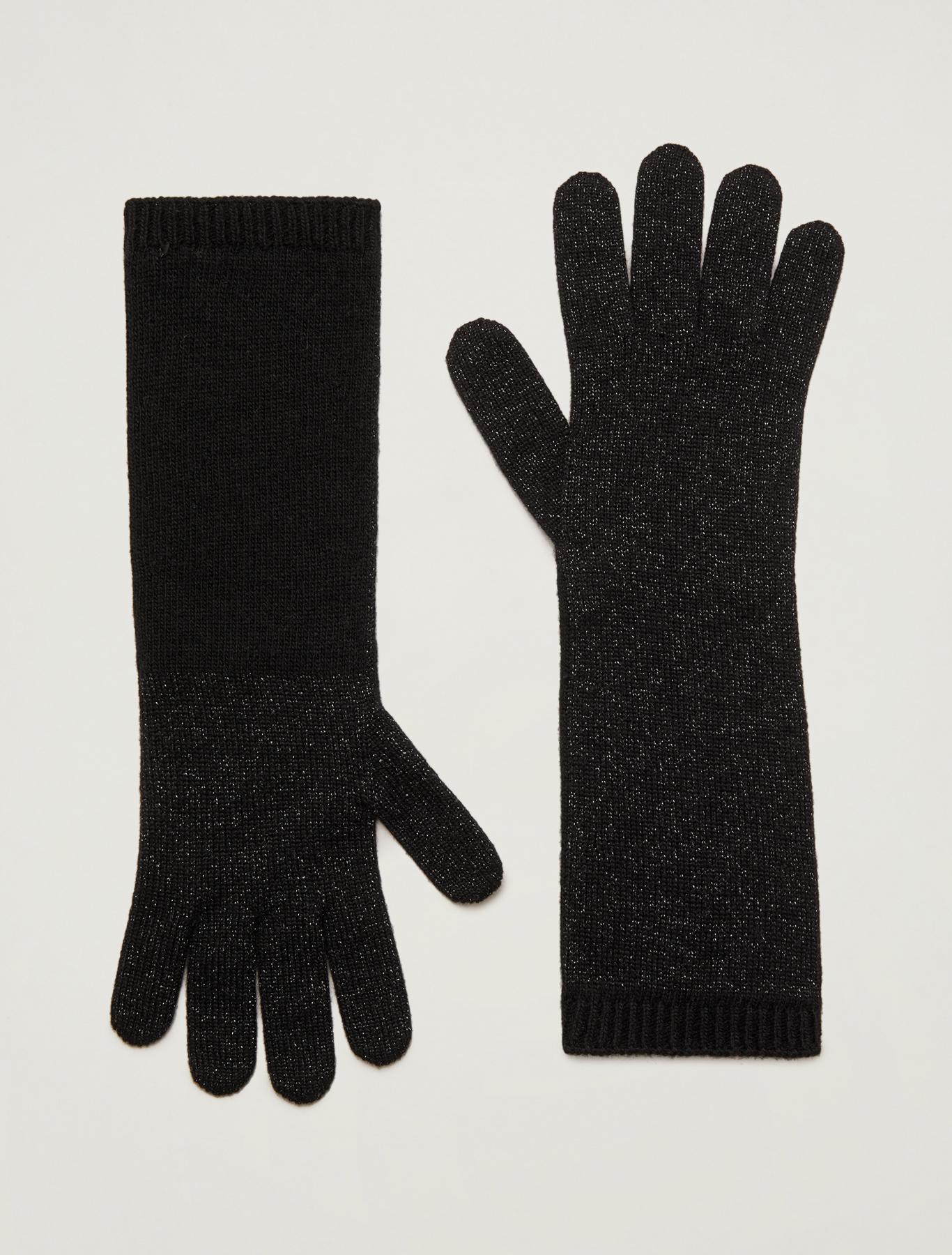Lamé knitted gloves - black - pennyblack