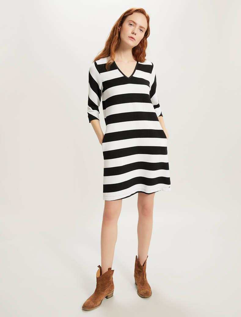 Tunic dress in striped jersey - black pattern - pennyblack