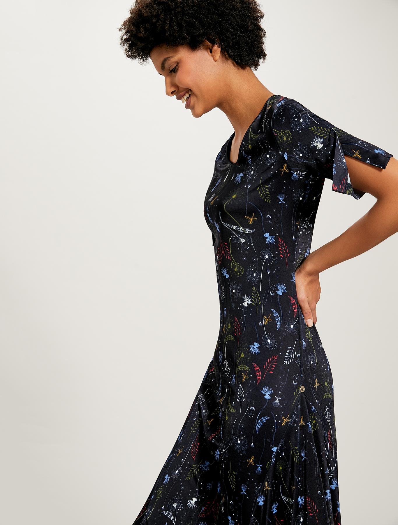 Jersey dress with plant print - navy blue pattern - pennyblack
