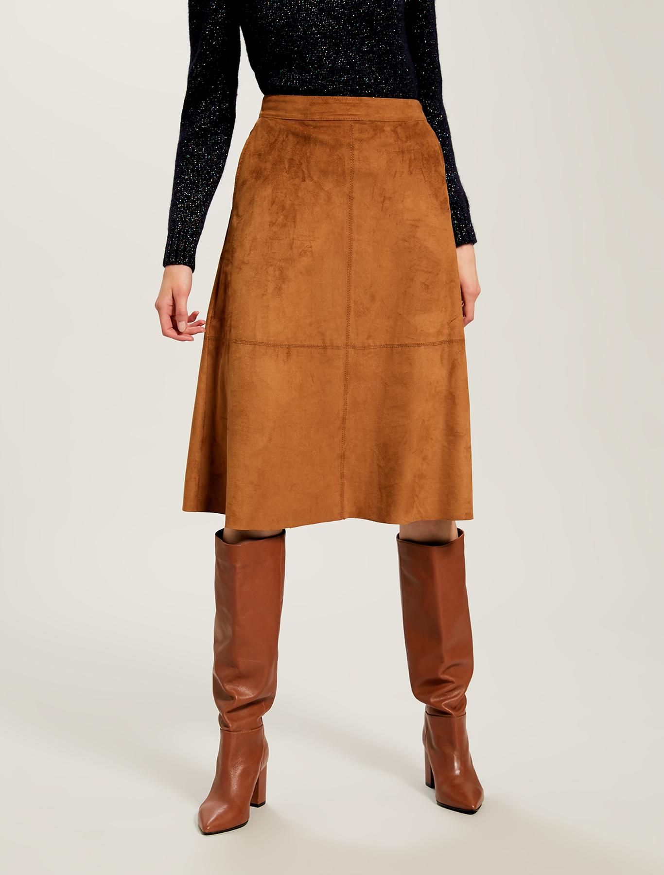 A-line skirt in velvet jersey - tan - pennyblack