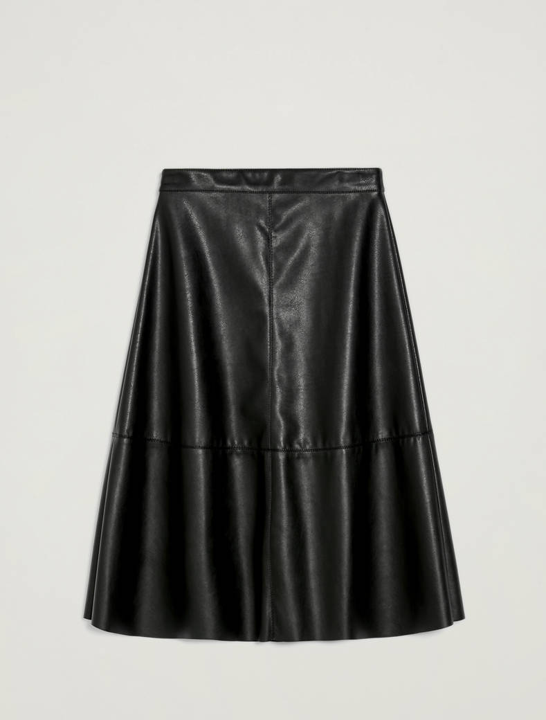 A-line coated jersey skirt - black - pennyblack