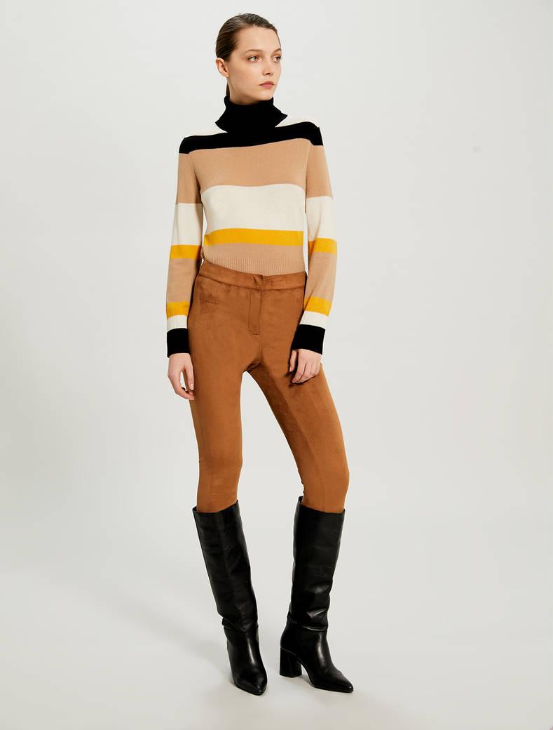 Skinny trousers in velvet jersey - tan - pennyblack
