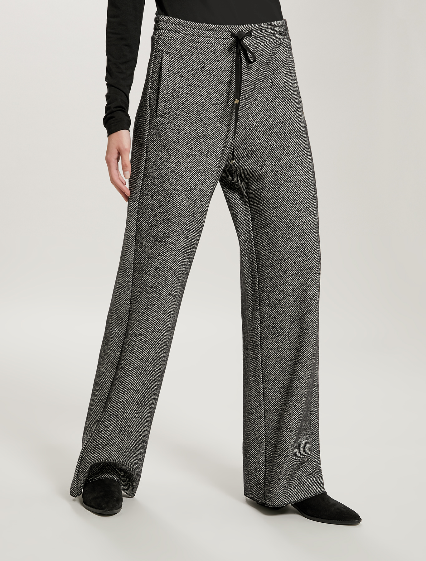 Tweed jersey trousers - black pattern - pennyblack