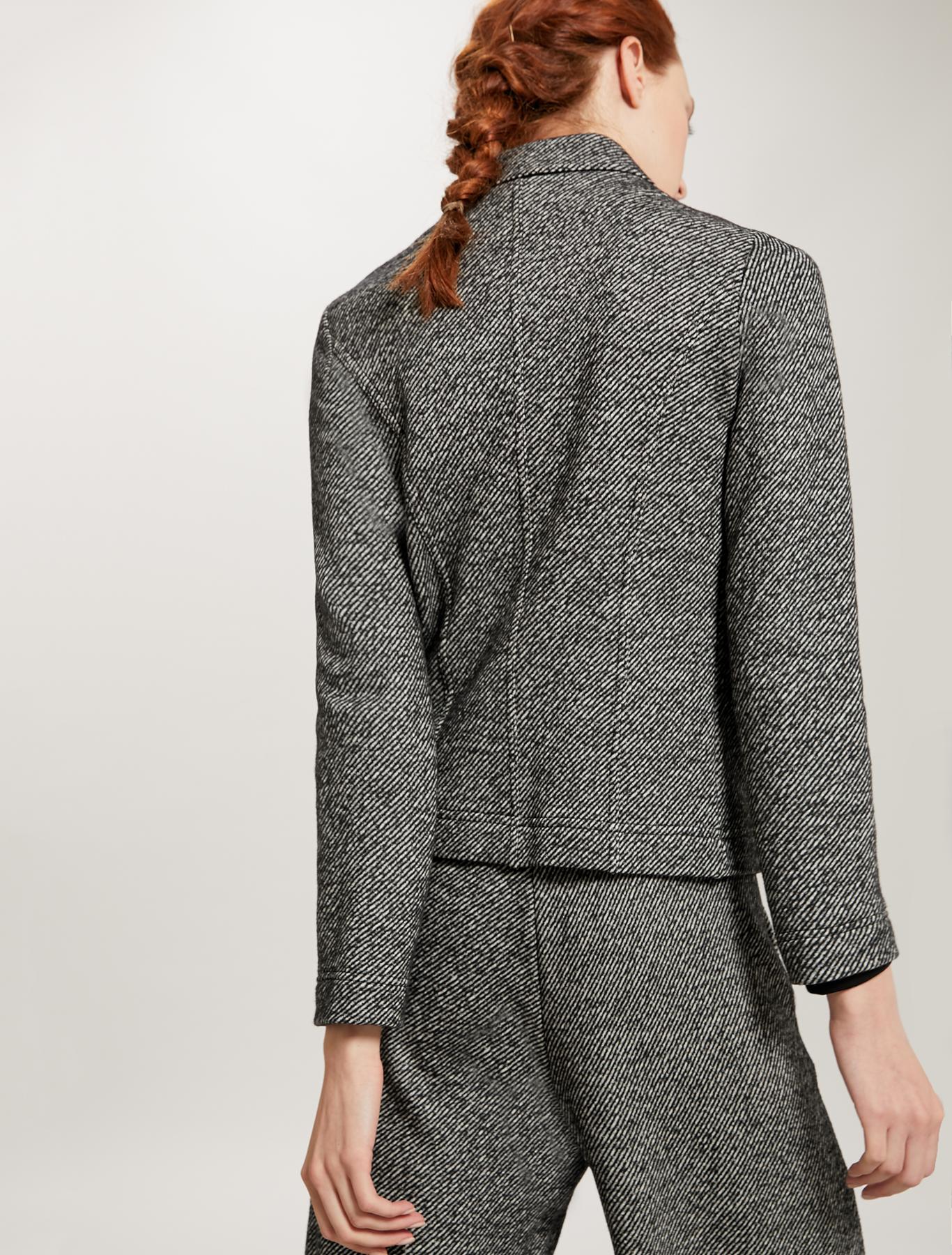 Zipped tweed jersey jacket - black pattern - pennyblack