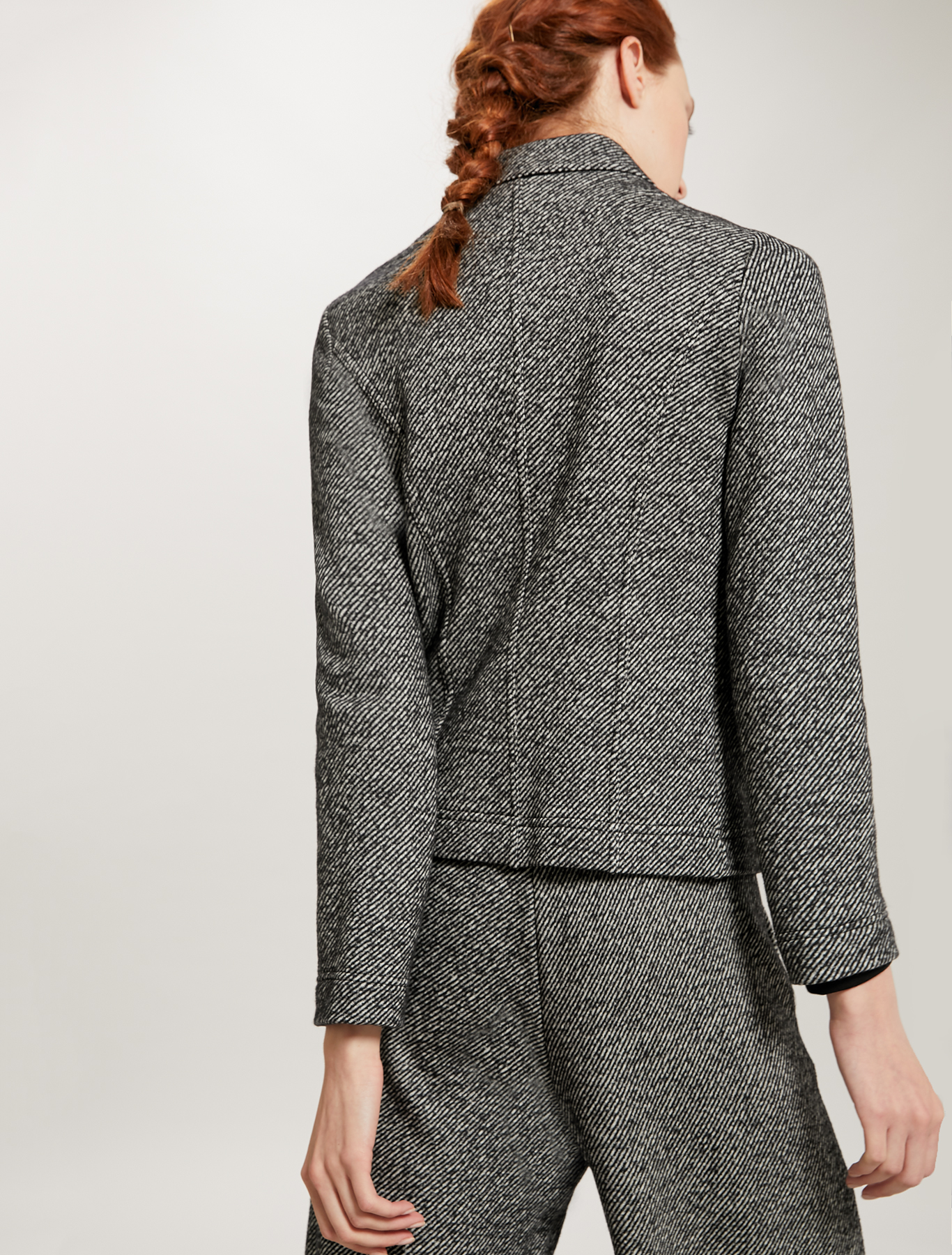Zipped tweed jersey jacket - black pattern - pennyblack