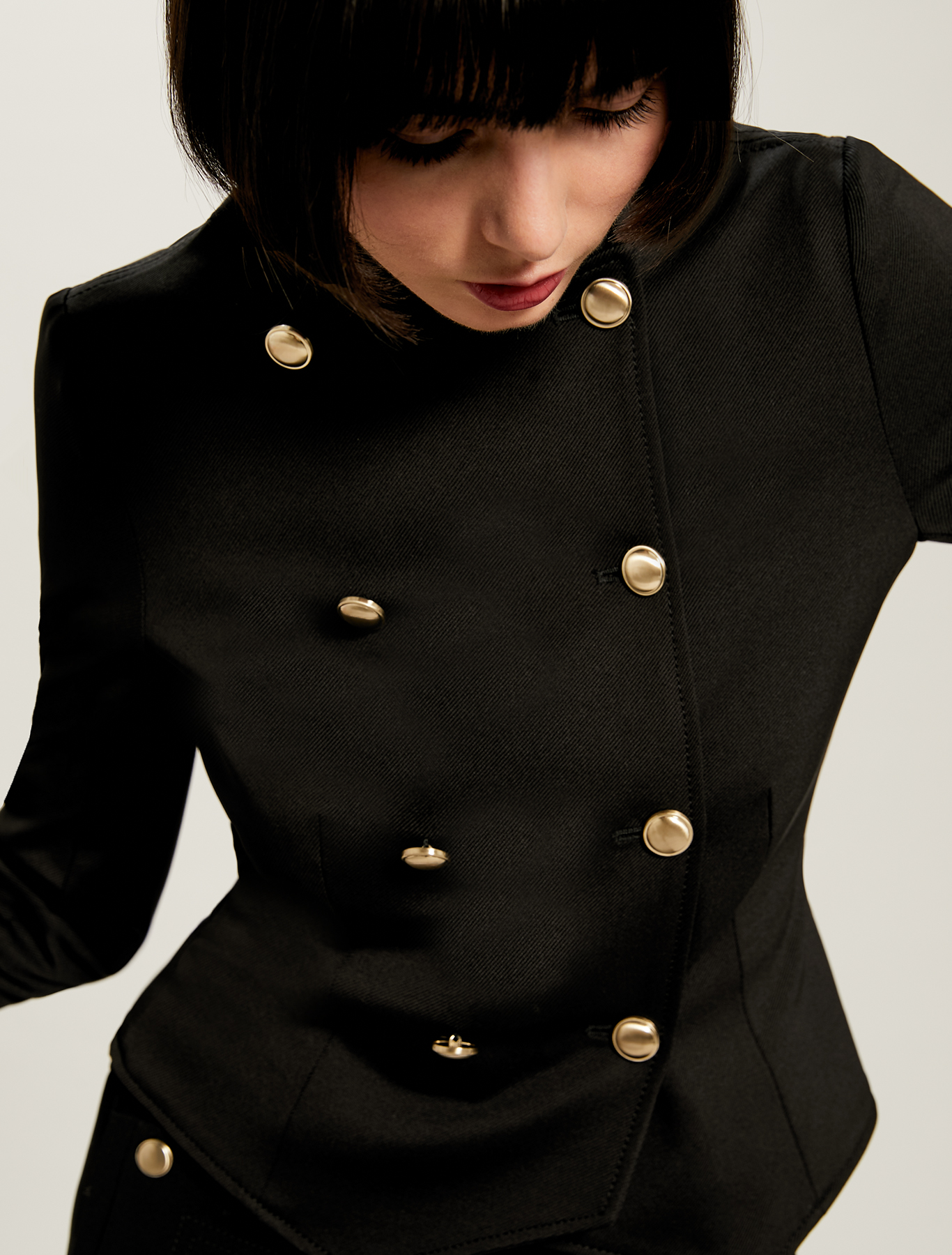 Double-breasted jersey tailcoat - black - pennyblack