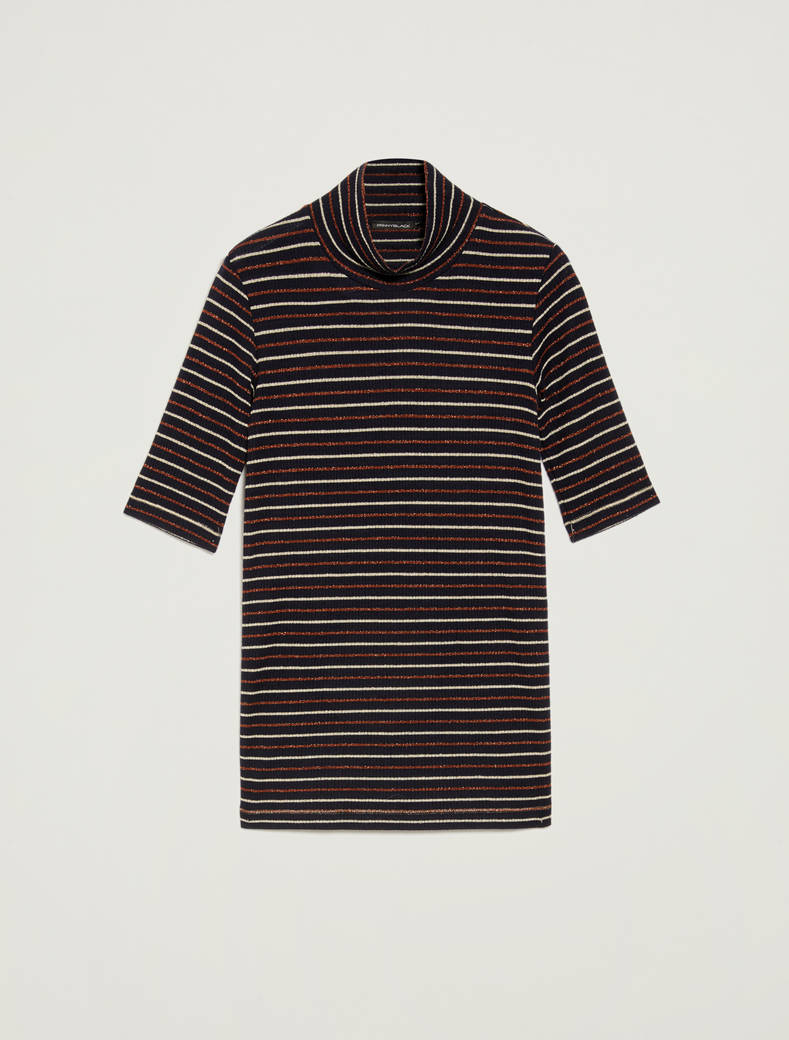 Turtleneck T-shirt with lamé stripes - navy blue pattern - pennyblack