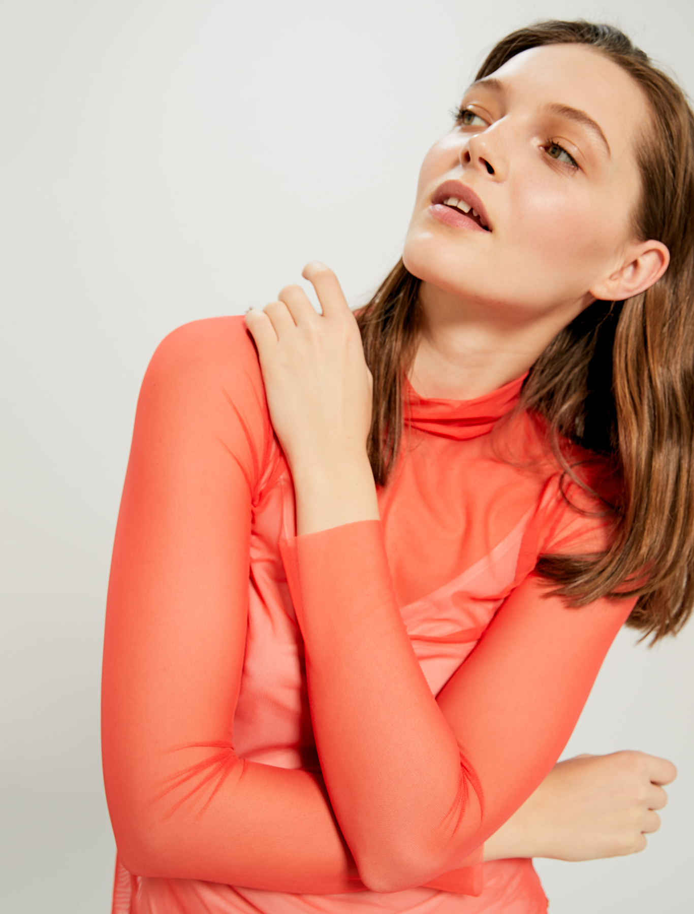 Turtleneck T-shirt in stretch tulle - coral - pennyblack