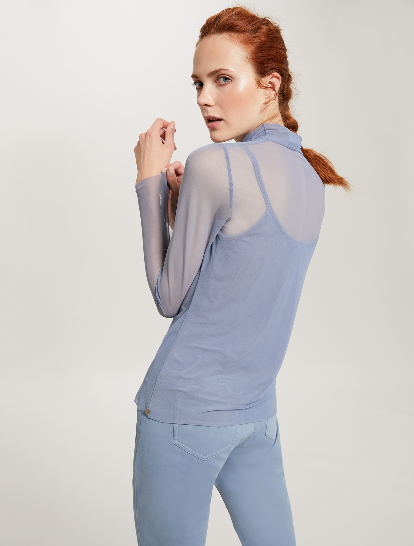 Turtleneck T-shirt in stretch tulle - air force blue - pennyblack