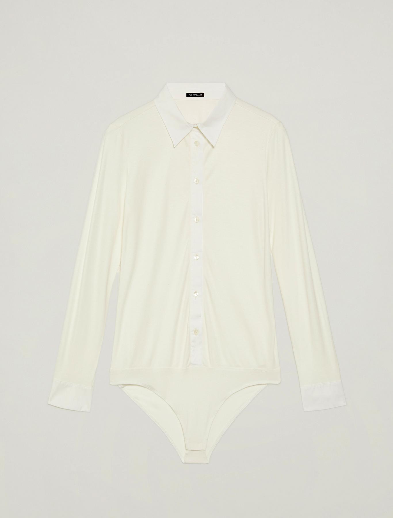 Bodysuit in jersey and poplin - ivory - pennyblack