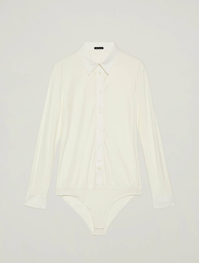 Bodysuit in jersey and poplin - ivory - pennyblack