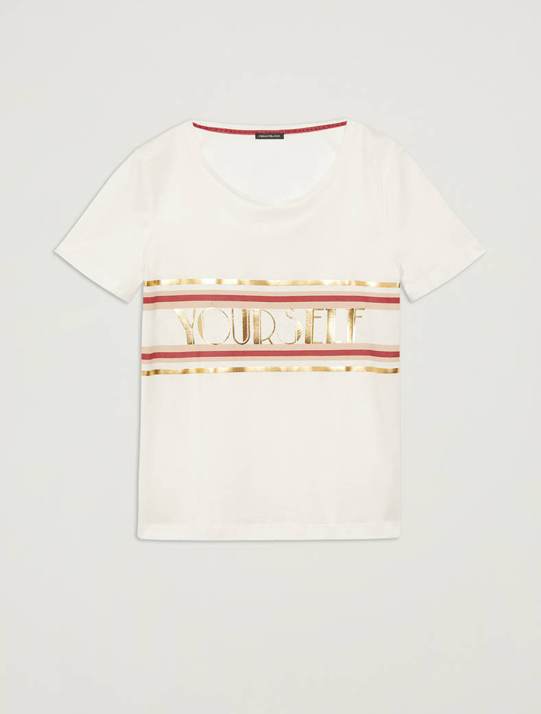 T-shirt with lettering print - ivory pattern - pennyblack