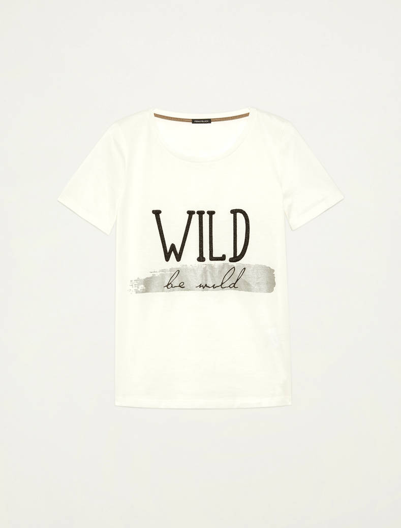 T-shirt with lettering print - white pattern - pennyblack