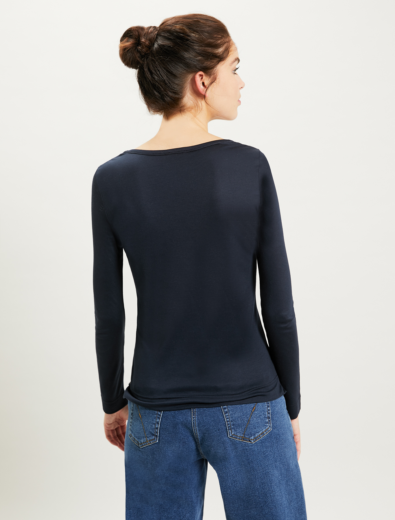 T-shirt with crêpe trim - navy blue - pennyblack