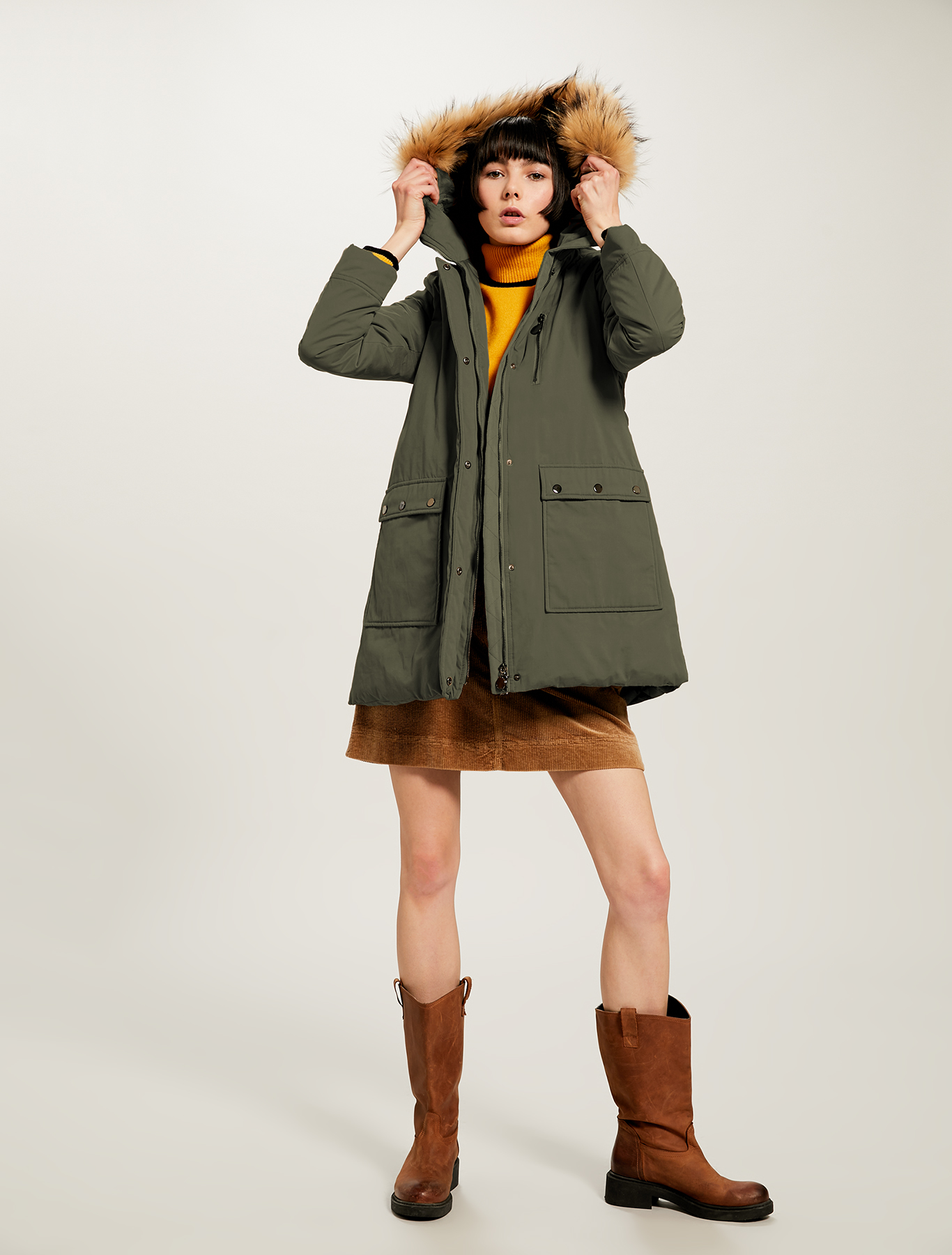 Two-material padded parka - khaki green - pennyblack