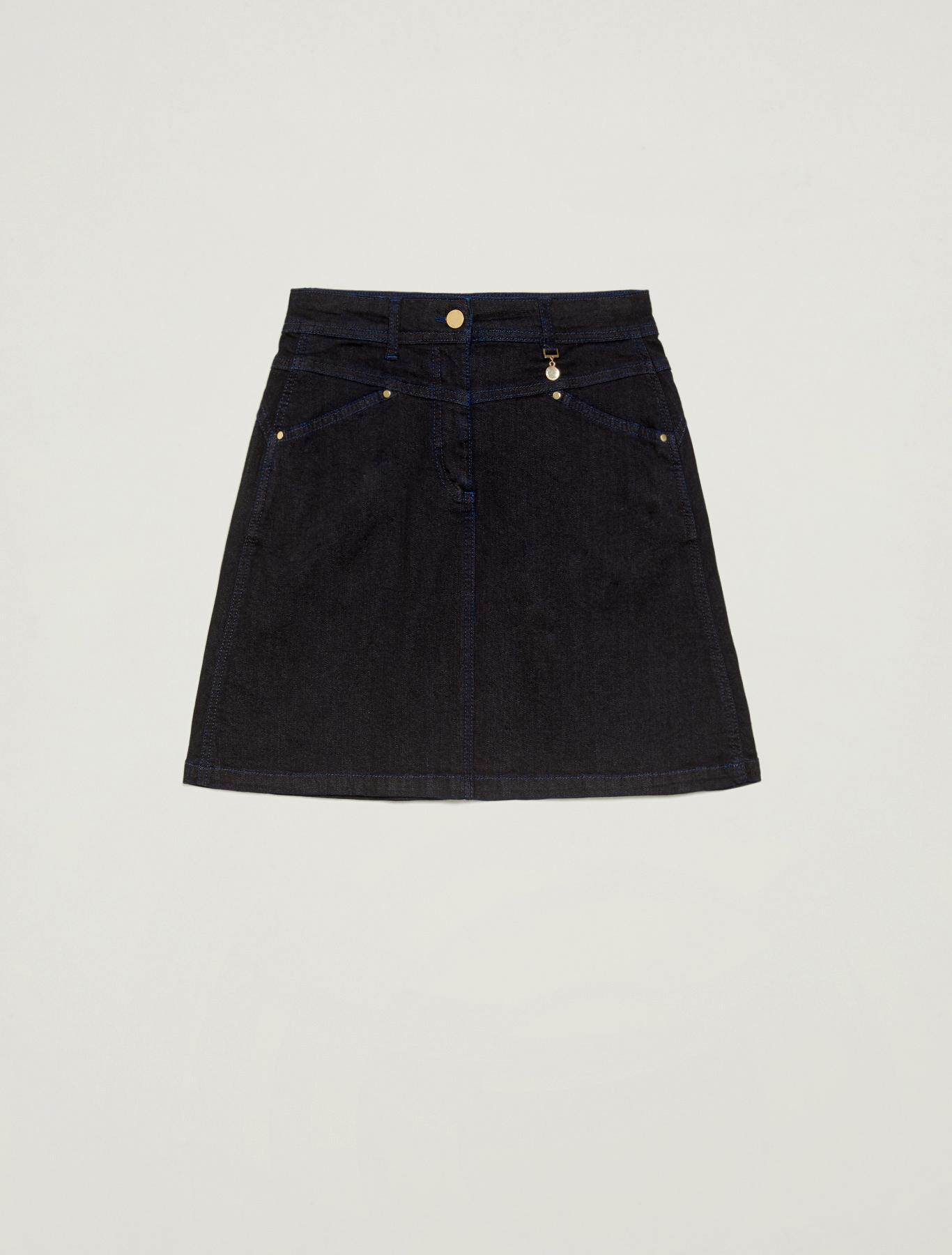 Blue denim A-line skirt - midnight blue - pennyblack