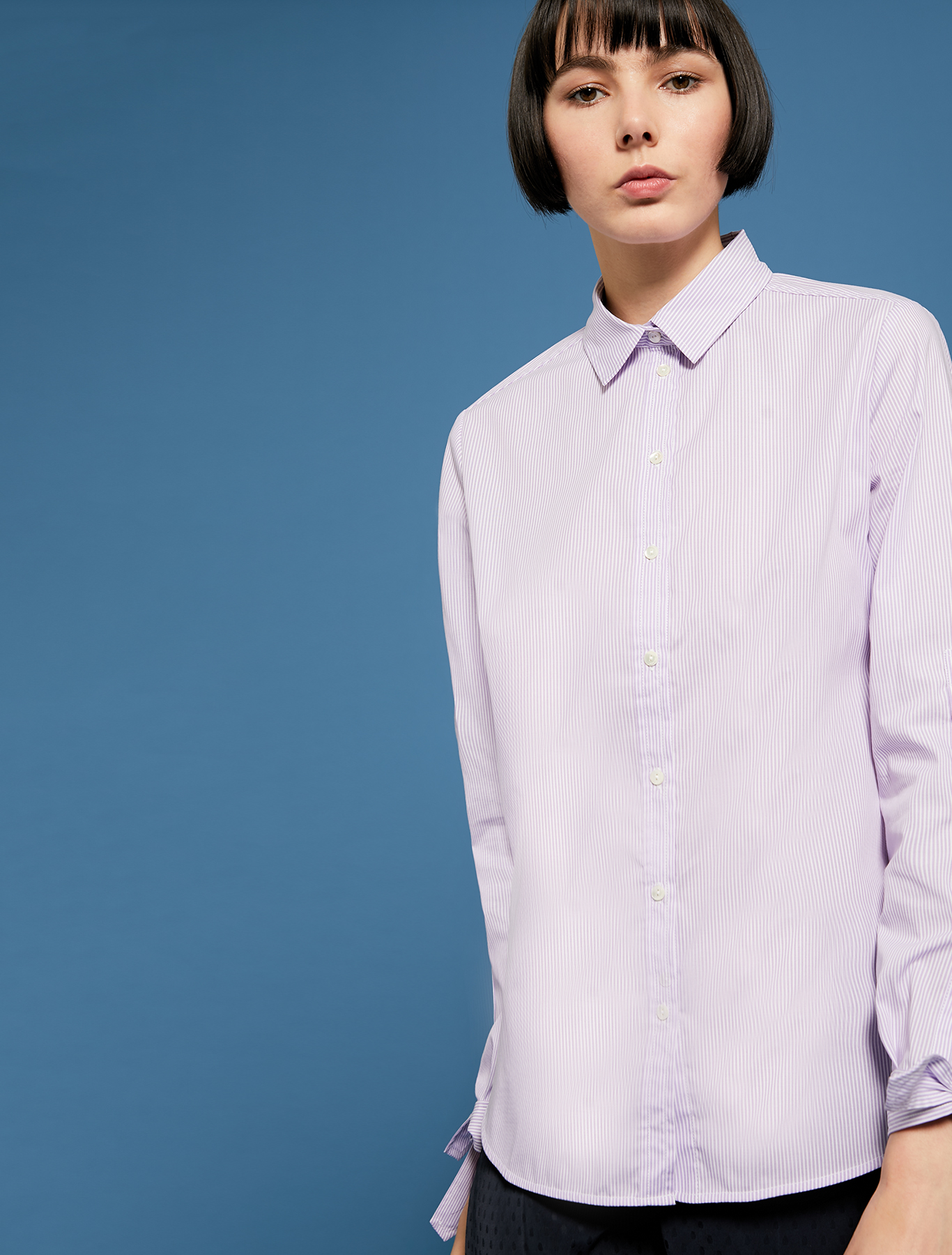 Shirt with bow cuffs - lilac pattern - pennyblack