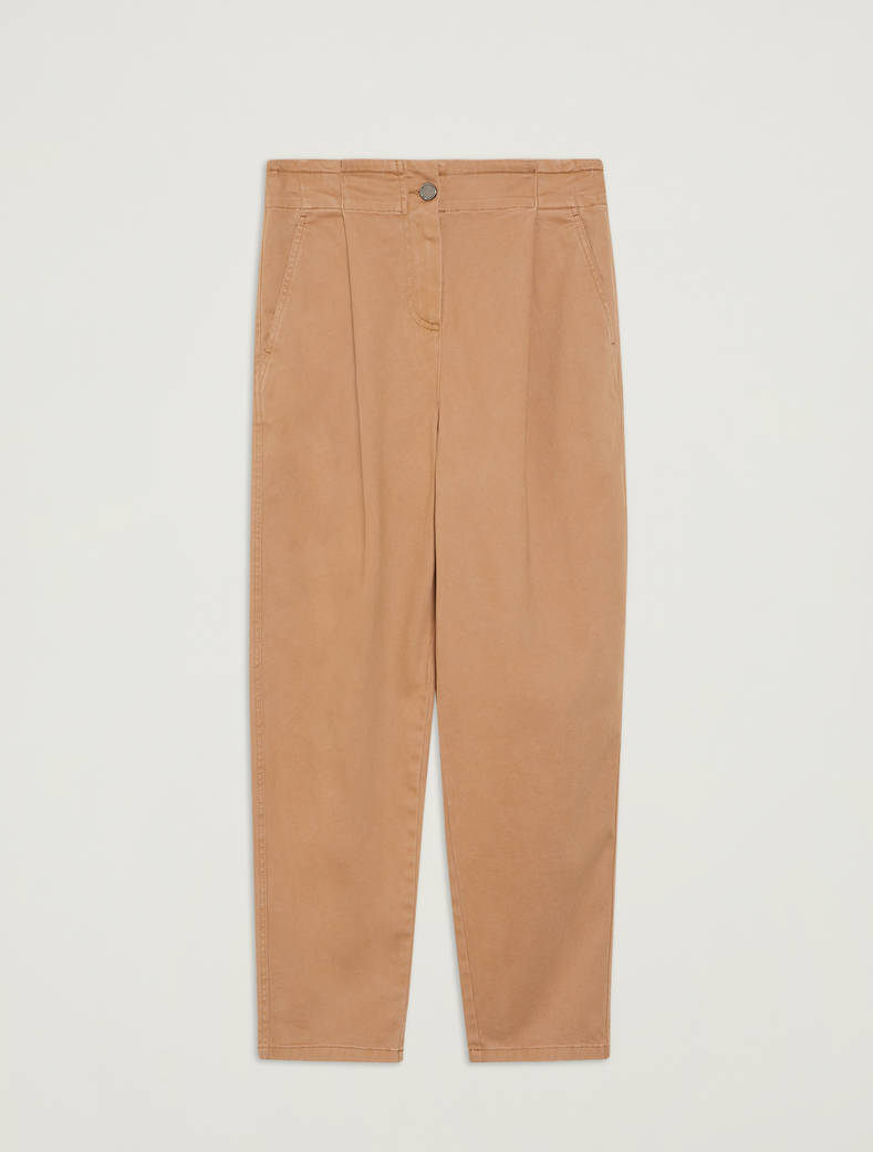Cotton, carrot-fit trousers - beige - pennyblack