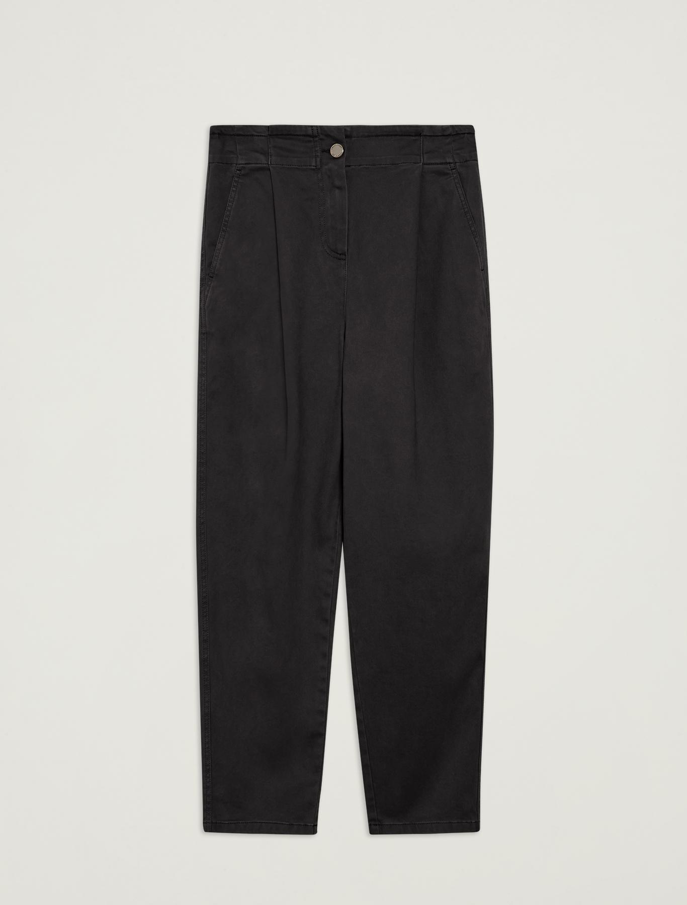 Cotton, carrot-fit trousers - black - pennyblack