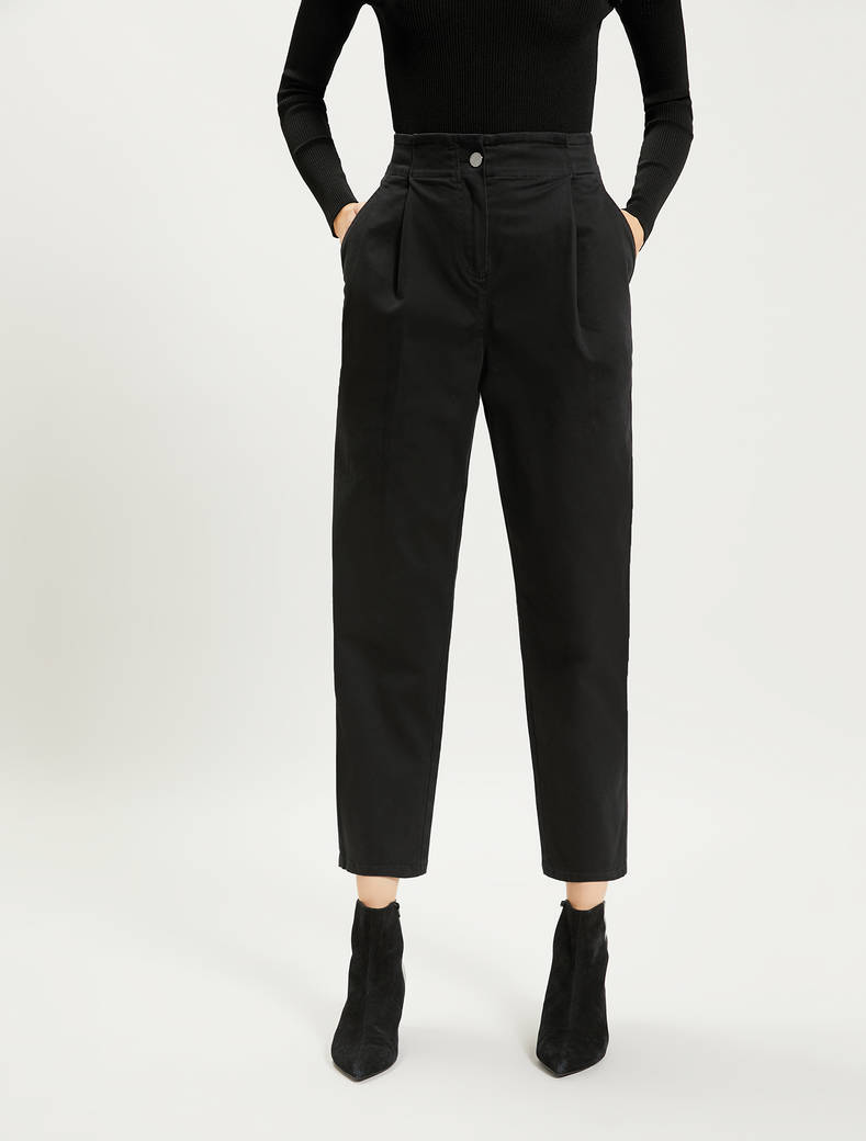 Pantaloni carrot fit in cotone - nero - pennyblack