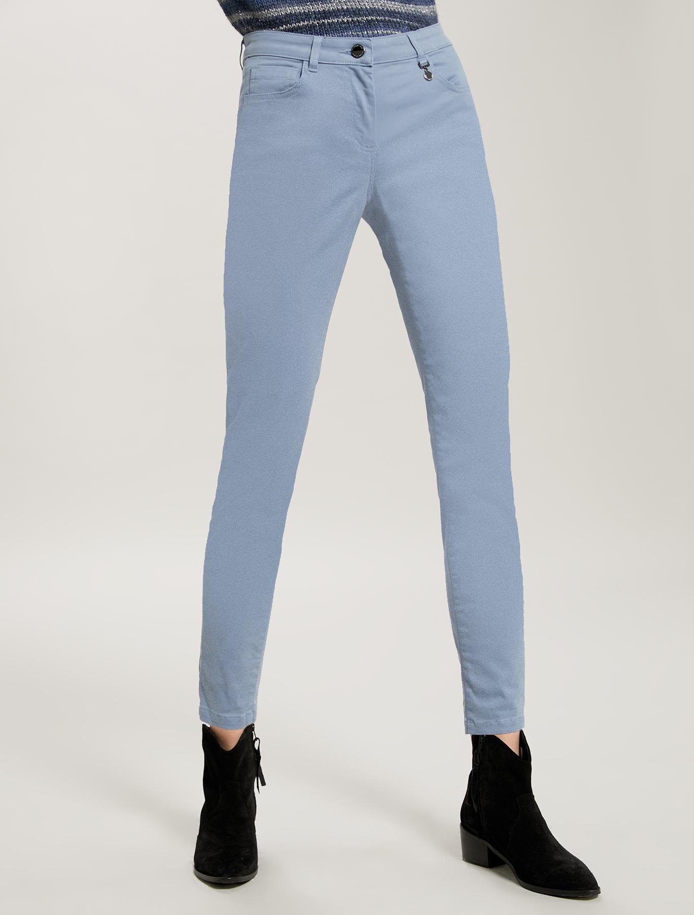 Skinny cotton satin trousers - light blue - pennyblack